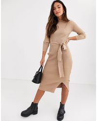 New Look Tie Waist Maxi Knitted Dress - Natural
