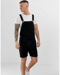 ASOS Denim Dungaree Shorts - Black