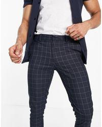 New Look Pantaloni eleganti skinny a quadri blu navy
