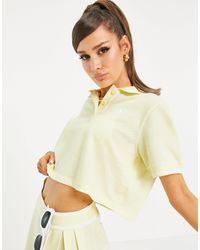 adidas Originals 'tennis Luxe' Logo Cropped Polo Shirt - Yellow
