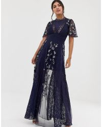 Amelia Rose Embroidered Lace Front Maxi Dress With Panel Inserts In Navy - Blue