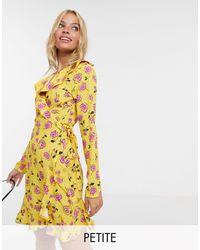 John Zack Приталенное Чайное Платье С Цветочным Принтом -желтый