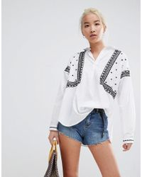 New Look - Embroidered Shirt - Lyst