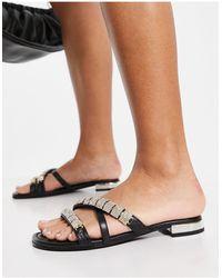 River Island Strappy Embellished Sandal - Black