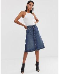G-Star RAW Arc Denim A-line Midi Skirt - Blue