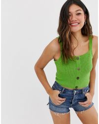 ASOS Button Through Knitted Vest In Natural Look Yarn - Green
