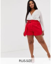 PrettyLittleThing Exclusive Woven Shorts With Belt Detail - Red