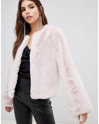 Lipsy - Faux Fur Jacket In Pink - Lyst