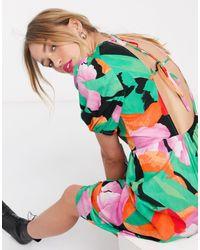 Lost Ink Платье Миди С Крупным Цветочным Принтом И Открытой Спиной -мульти - Многоцветный