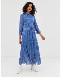 Vero Moda Ditsy Tiered Maxi Dress - Blue