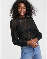 Oasis Victorian Lace Blouse With High Neck - Black