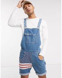 ASOS Ruimvallende Denim Tuinbroek Met Korte Pijpen En Amerikaanse Vlag - Blauw
