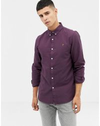 Farah - Brewer Slim Fit Oxford Shirt In Purple - Lyst
