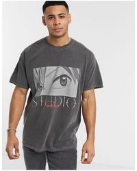 New Look Oversized Anime Over Dyed T-shirt - Gray