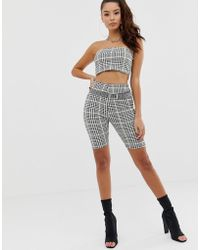 PrettyLittleThing - legging Shorts Co-ord In Black And Neon Lime Check - Lyst
