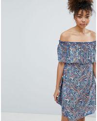 Esprit Paisley Print Off Shoulder Beach Dress - Blue