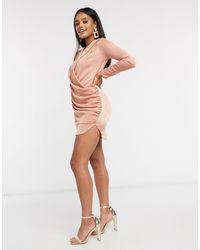 Flounce London - Club - Vestito con scollo profondo drappeggiato rosa cipria - Lyst