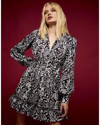 TOPSHOP - Монохромное Платье-рубашка -черный - Lyst