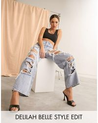 ASOS High Rise 'relaxed' Dad Jeans With Extreme Rips - Blue