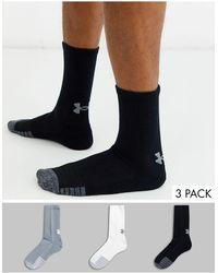Under Armour Heatgear 3 Pack Crew Socks - Black