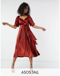 ASOS Плиссированное Бархатное Платье Миди Рыжего Цвета С Запахом И Пышными Рукавами - Коричневый