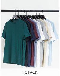 ASOS Set Van 10 T-shirts Met Ronde Hals Van Organisch Katoen - Meerkleurig