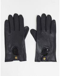 ASOS Черные Кожаные Перчатки - Черный