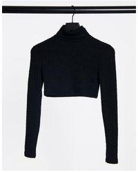 Bershka Cropped Roll Neck T-shirt - Black