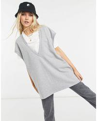 Bershka Серый Oversized-жилет С V-образным Вырезом - Многоцветный