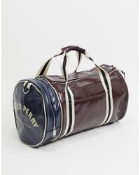 Fred Perry Colour Block Barrel Bag - Red