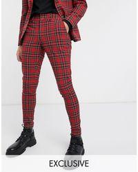 Heart & Dagger Pantaloni da abito rossi scozzesi - Rosso