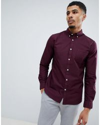 New Look - Oxford Shirt In Burgundy - Lyst