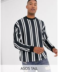 ASOS Tall Oversized Long Sleeve Vertical Stripe T-shirt - Black