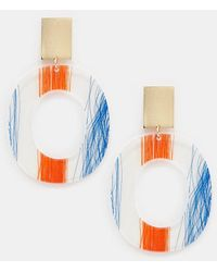 ASOS - Drop Earrings With Thread Trapped Resin In Gold - Lyst