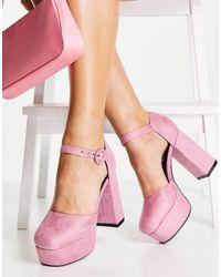 LAMODA – Absatzschuhe mit Plateausohle und Knöchelriemen - Pink
