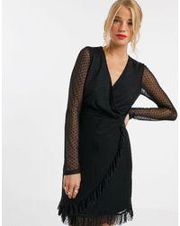 Miss Selfridge Robe courte en tulle armuré - Noir