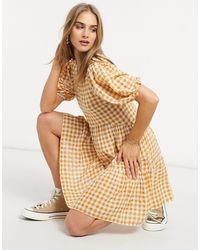 Warehouse Желтое Ярусное Платье Мини В Клетку -желтый - Многоцветный