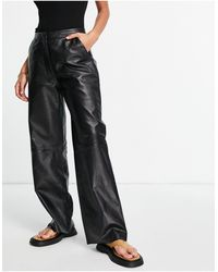 Muubaa Eliana - Pantalon large en cuir à taille haute - Noir