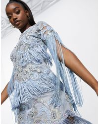 A Star Is Born Embellished Dress With Fringe Sleeves - Blue