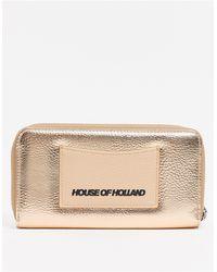 House of Holland Porte-monnaie zippé sur le pourtour avec détail en relief - Or rose - Métallisé