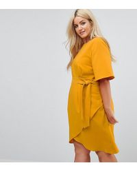 Closet London Plus - Tie Front Dress With Kimono Sleeve - Lyst