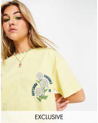 Reclaimed (vintage) Camiseta corta amarilla con bordado - Amarillo