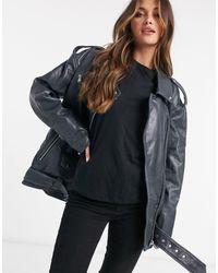 ASOS Oversized Washed Leather Biker Jacket - Black