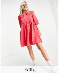 New Look - Розовое Платье Из Поплина С Однотонным Воротником -розовый Цвет - Lyst