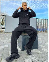 Nike Черное Худи На Молнии Club-черный