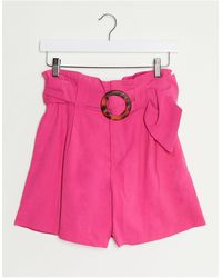 Stradivarius Short With Belt - Pink