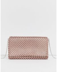 New Look Beaded Occasion Clutch In Light Pink - Natural