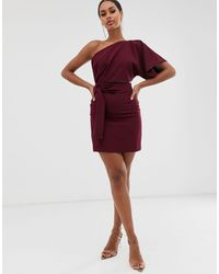 Vesper One Shoulder Mini Dress With Cut Out And Tie Detail - Red