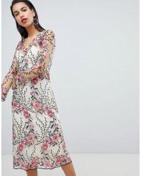 Vila - Embroidered Floral Midi Dress - Lyst