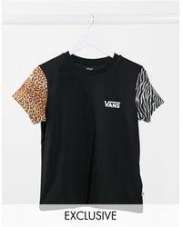 Vans Wyld - T-shirt nera con stampa animalier multi - Nero